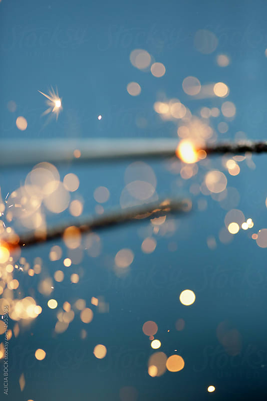 Close Up Of Two Fourth Of July Sparklers by ALICIA BOCK for Stocksy United