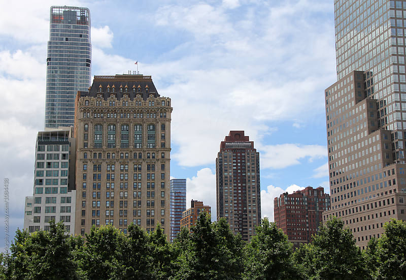 Buildings in the Financial District of New  York City by Monica Murphy for Stocksy United