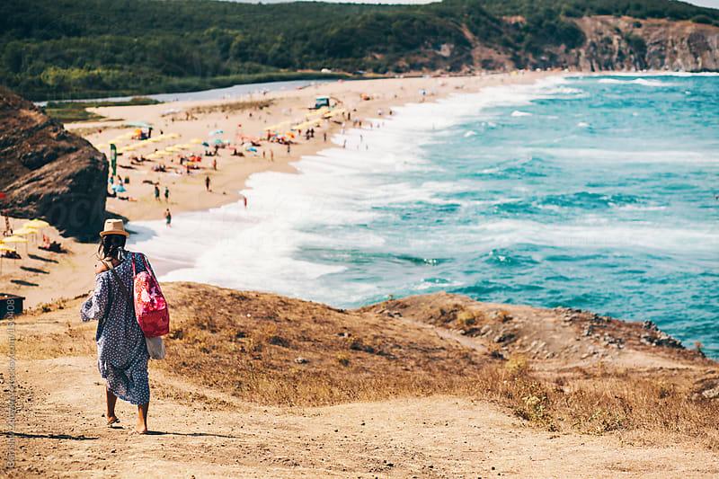 Summer dressed girl going to the beach by Borislav Zhuykov for Stocksy United
