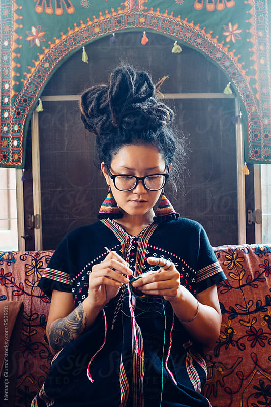 Unique Thai Woman Knitting by Nemanja Glumac for Stocksy United