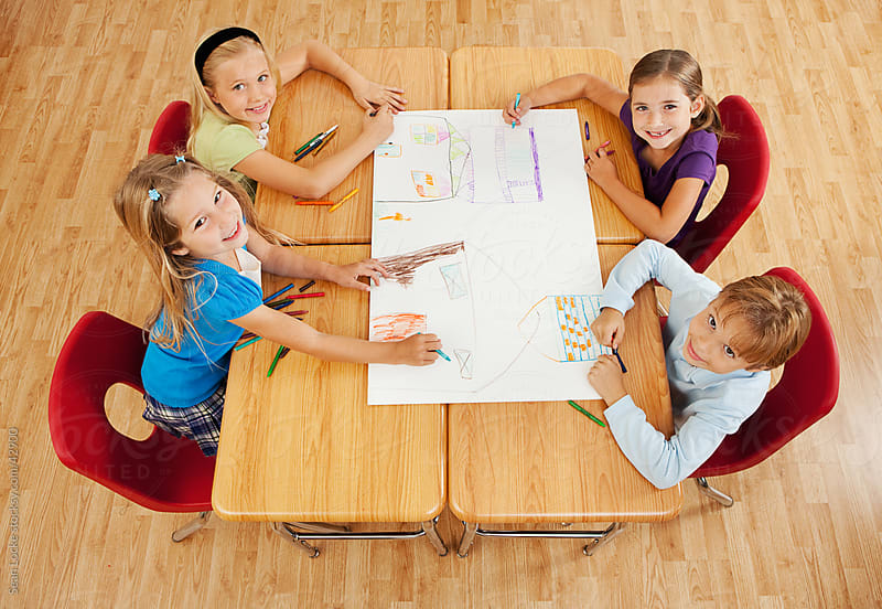 Classroom: Kids Take a Break from Working on Poster by Sean Locke for Stocksy United