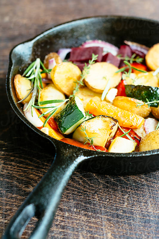Pan-roasted vegetables by Harald Walker for Stocksy United
