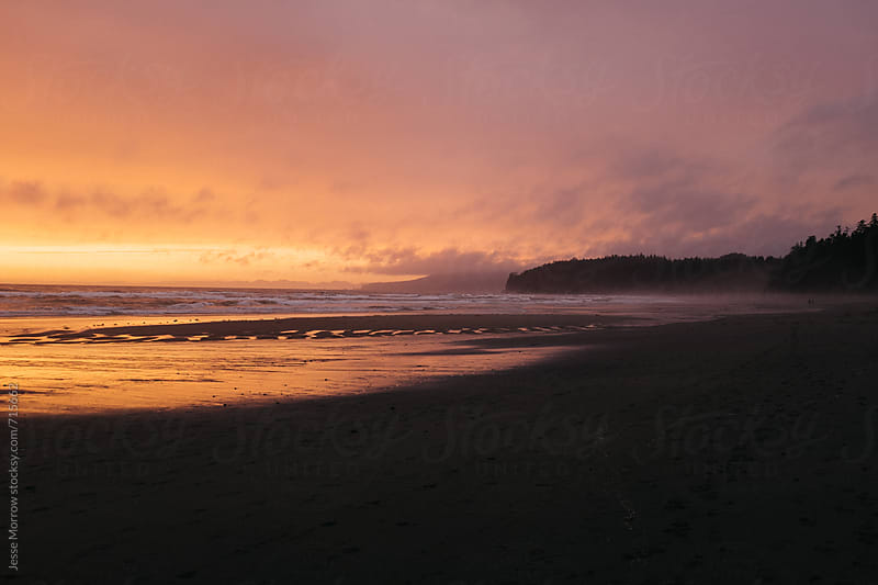 sunset on washington (state) coast usa pacific ocean by Jesse Morrow for Stocksy United