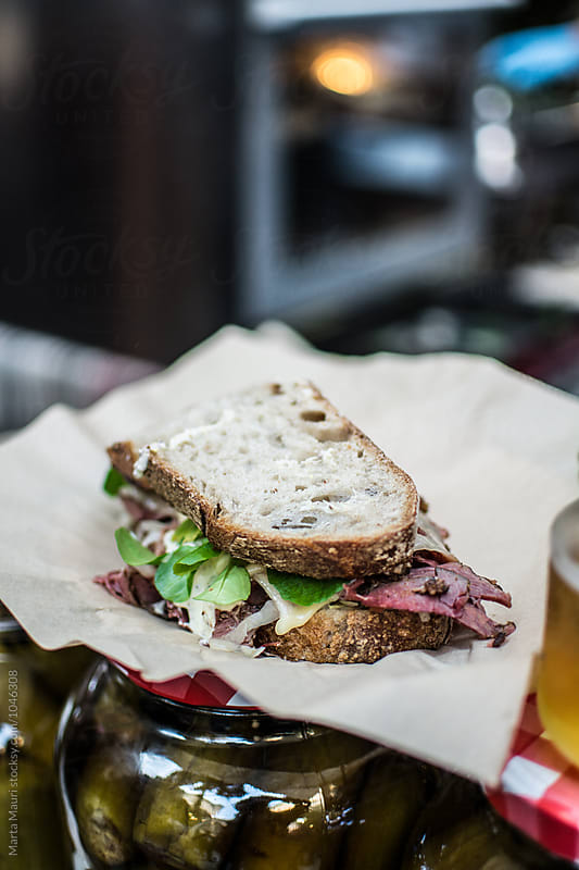 Pastrami sandwich  by KEMA Food Culture for Stocksy United