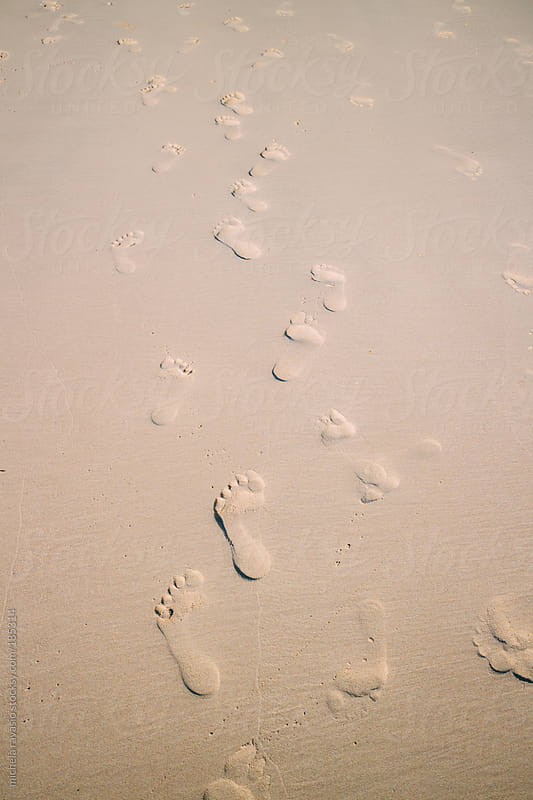 Footprints in the sand by michela ravasio for Stocksy United
