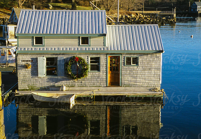 Houseboat with Holiday Wreath by Raymond Forbes LLC for Stocksy United