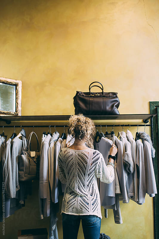 Rear view of boutique shopper by michela ravasio for Stocksy United