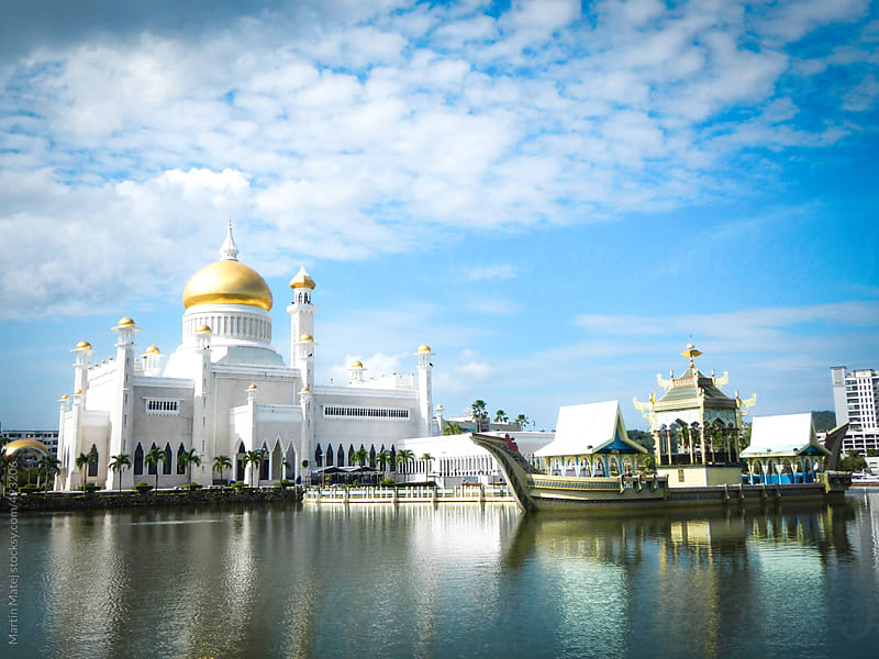 Brunei mosque with ship in Brunei Darussalam by Martin Matej for Stocksy United