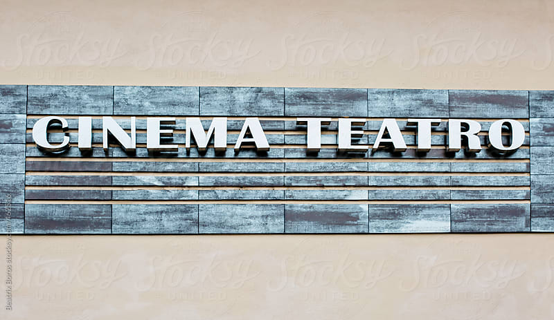 Cinema and theatre sign in Italian on a wall by Beatrix Boros for Stocksy United