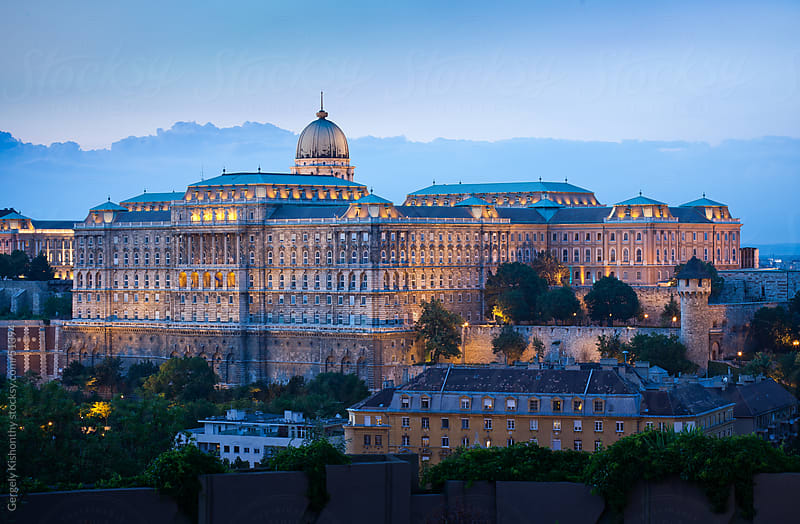 Castle of Buda early blue hour. by Gergely Kishonthy for Stocksy United