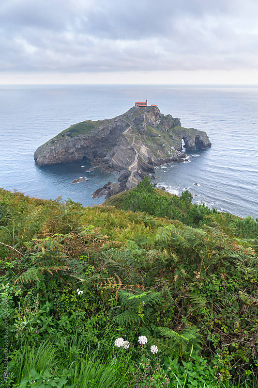 Above view from the small island Gaztelugatxe by ACALU Studio for Stocksy United