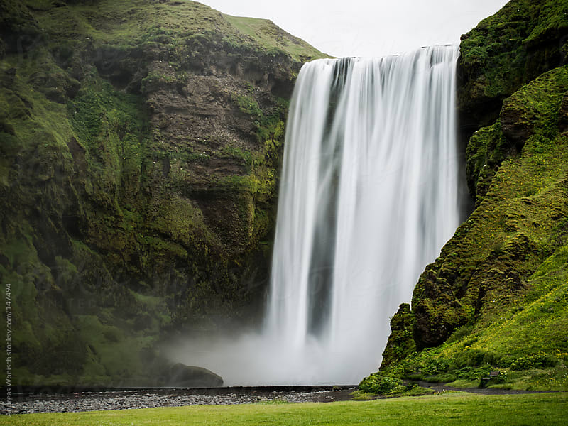 Powerful Skogafoss Waterfall in Iceland by Andreas Wonisch for Stocksy United