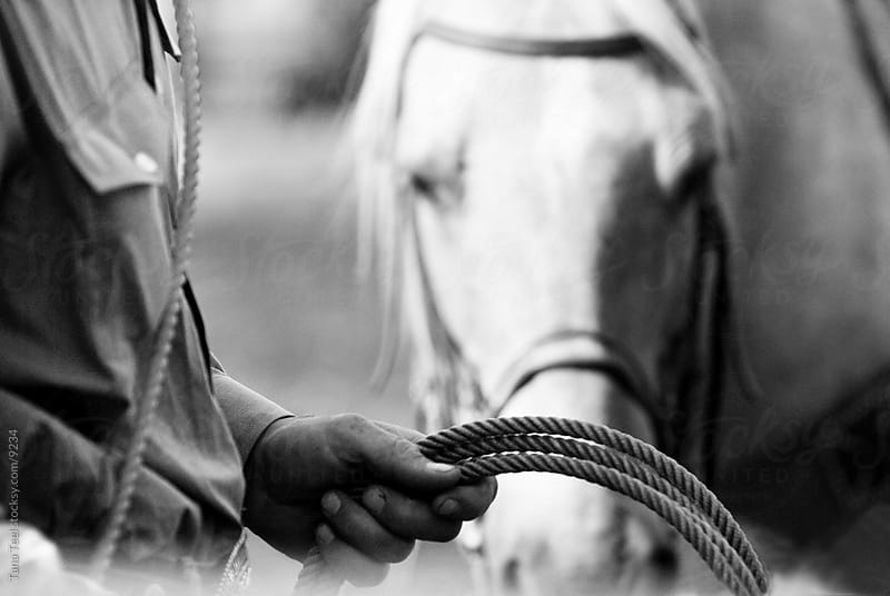 Cowboy holding rope ready . by Tana Teel for Stocksy United