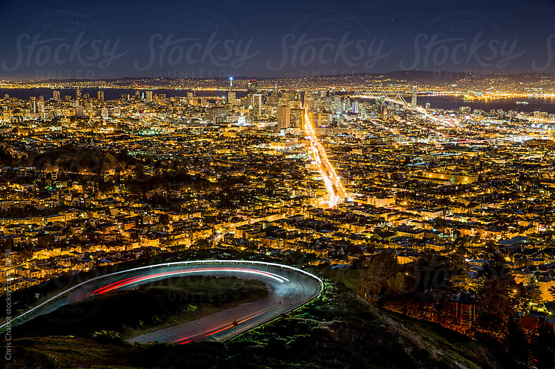 San Francisco at night by Chris Chabot for Stocksy United