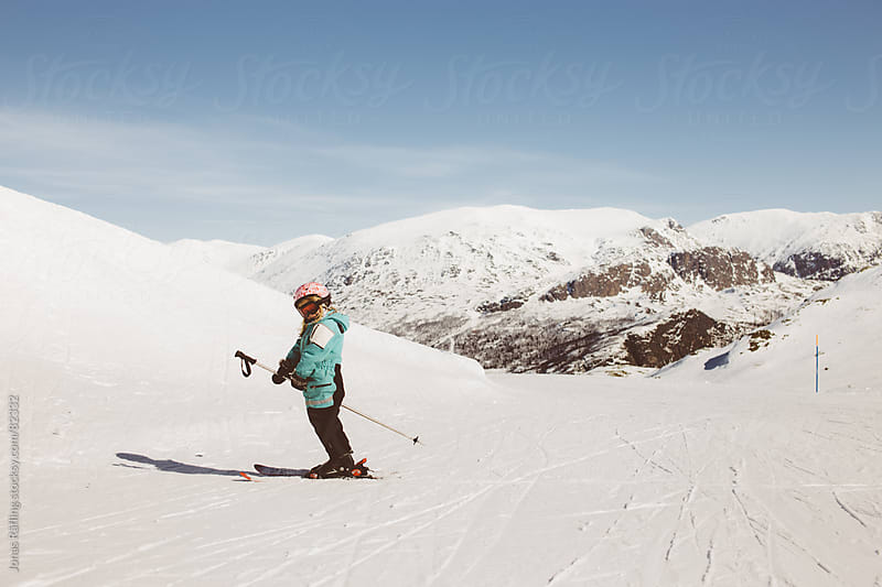 Young girl taking a pause in the slalom slope by Jonas Räfling for Stocksy United