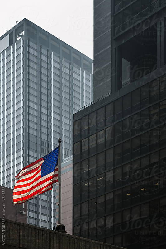 Usa Flag and Skyscrapers by VICTOR TORRES for Stocksy United
