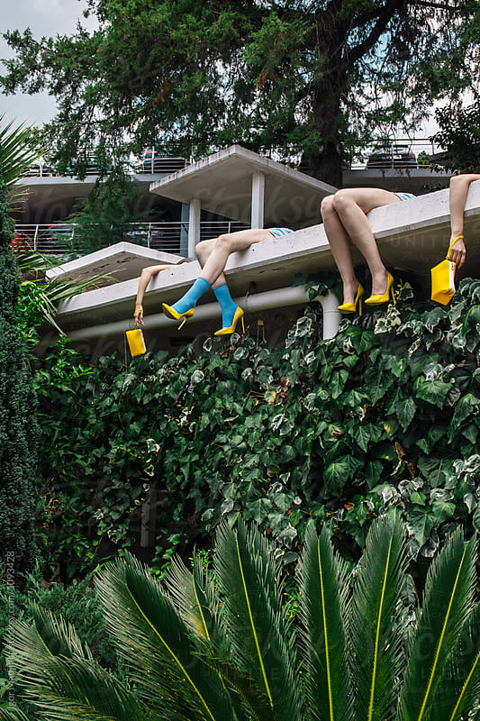 fashion,yellow,summer,colorful, urban girl on summer vacation by Igor Madjinca for Stocksy United