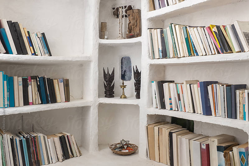 Home Library. Book Shelves In Open Wardrobe by Alexander Grabchilev for Stocksy United