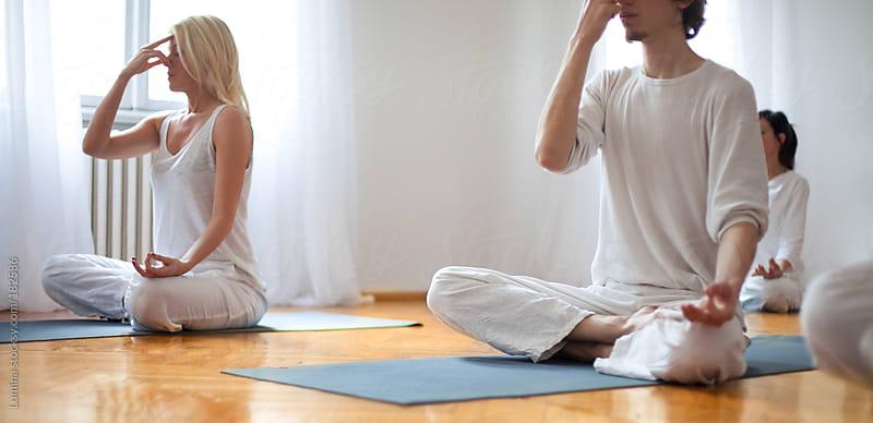 Breathing Yoga Exercise (Pranayama) by Lumina for Stocksy United