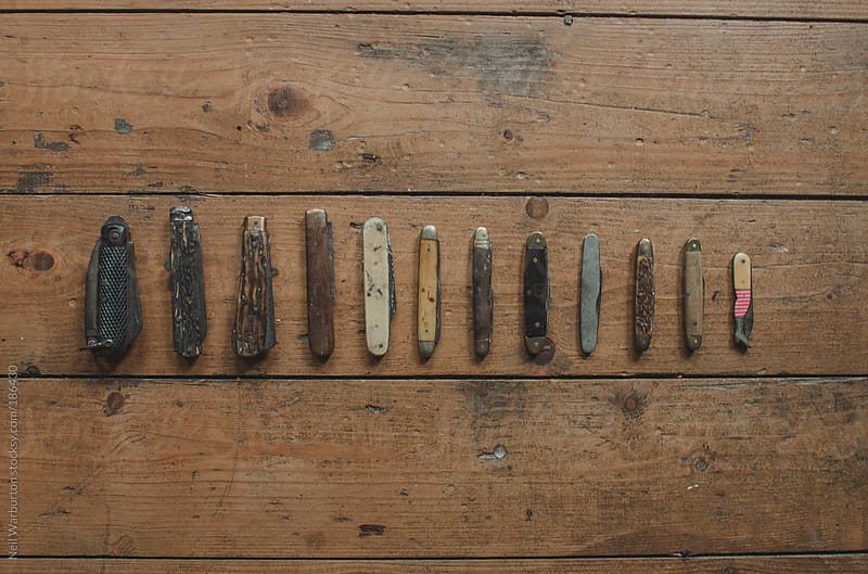 Collection of old Pocket Knives  by Neil Warburton for Stocksy United