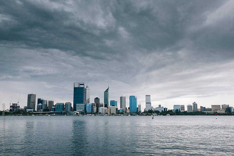 City of Perth, Western Australia, on a Stormy Day  by Jacqui Miller for Stocksy United