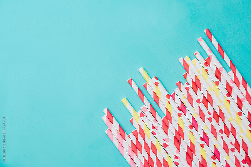 Striped straws by Vera Lair for Stocksy United
