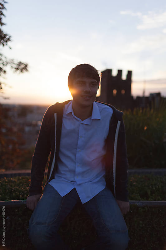 Smiling Man at Sunset by HEX. for Stocksy United