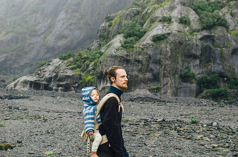 Man and toddler hiking  by Dominique Chapman for Stocksy United