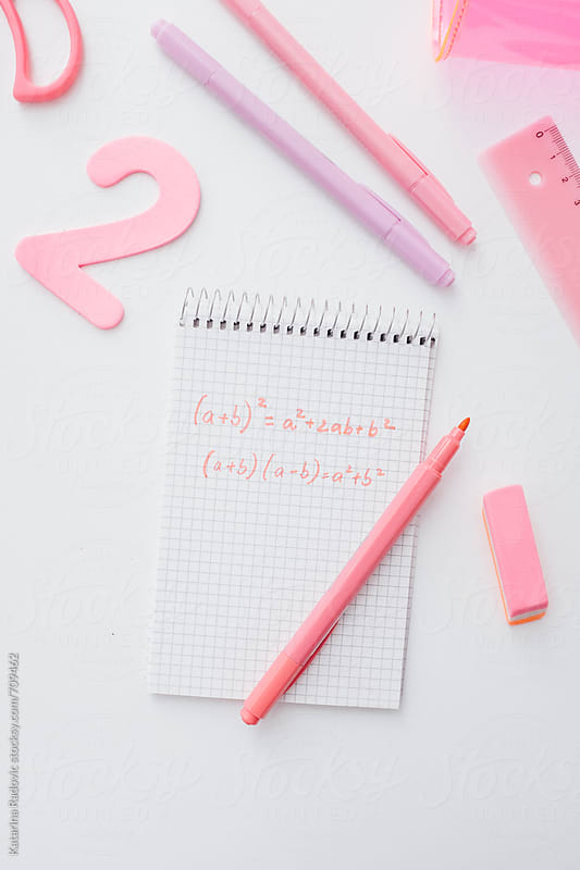 Pink Math Notes and School Items by Katarina Radovic for Stocksy United