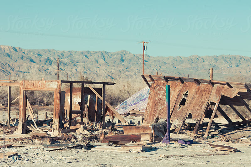 Temporary house falling apart Salton Sea, CA by Thomas Hawk for Stocksy United