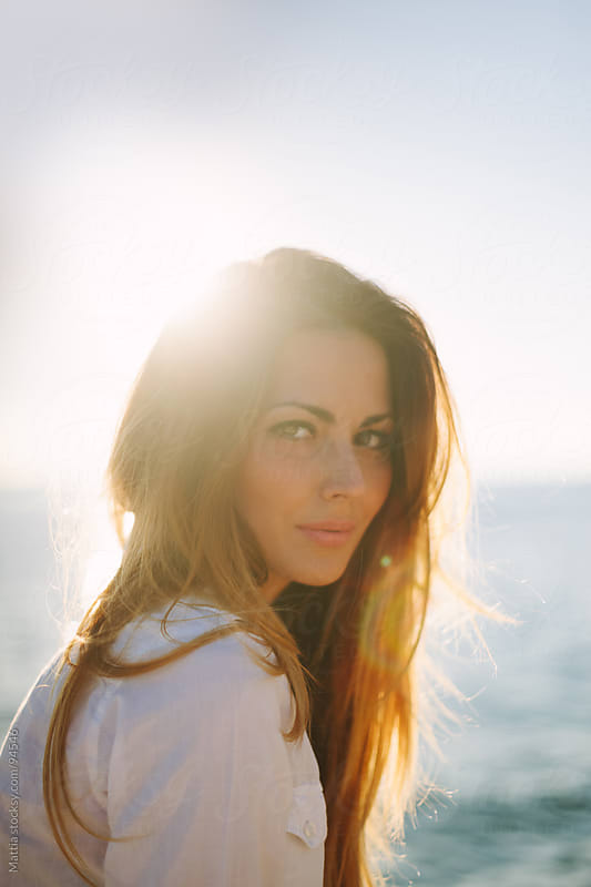 Smiling Gorgeous  Woman Portrait. Summer Backlight by HEX. for Stocksy United