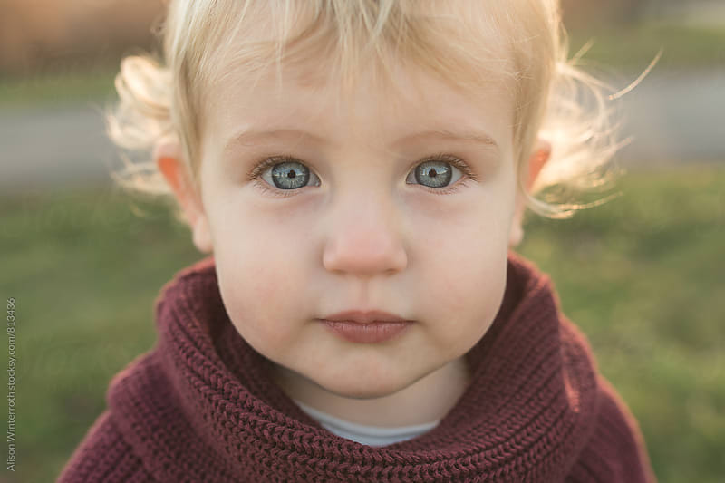 Up Close Shot Of Cute Blonde Toddler by Alison Winterroth for Stocksy United