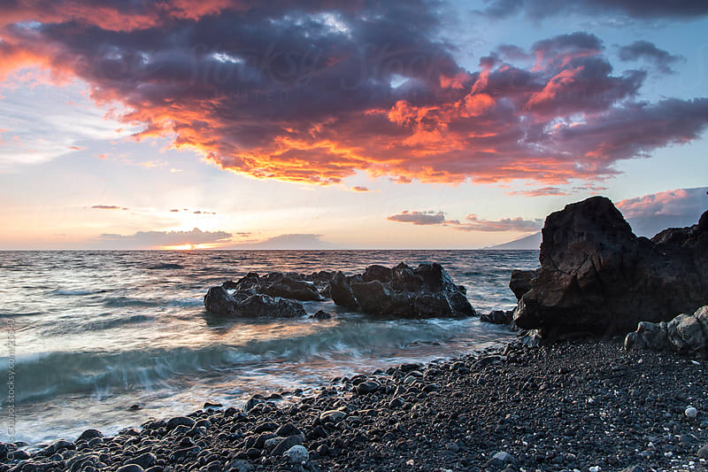 Colorful sunset in Maui by Chris Chabot for Stocksy United