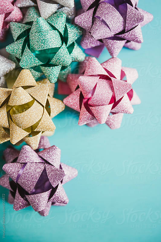 Christmas Gifts Decorative Sparkling Matte Star Bows by Vera Lair for Stocksy United