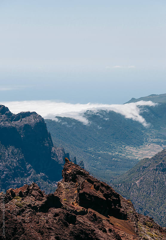 Clouds rolling over mountain ridge. Roque de los Muchachos, La Palma, Canary Islands. by Liam Grant for Stocksy United