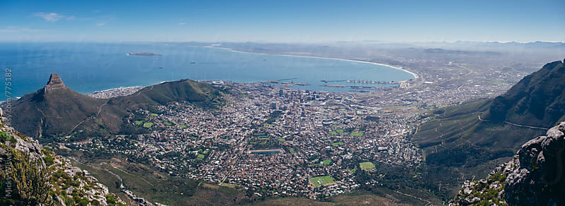 Panoramic view of Cape Town city from Table Mountain by Micky Wiswedel for Stocksy United