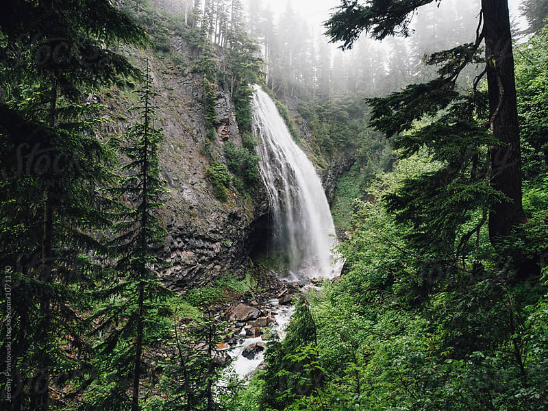 Gloomy waterfall in the Pacific Northwest within a fog filled forest by Jeremy Pawlowski for Stocksy United