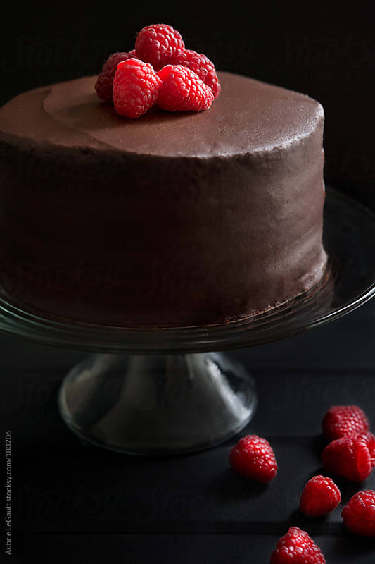Chocolate Cake & Raspberries II by Aubrie LeGault for Stocksy United