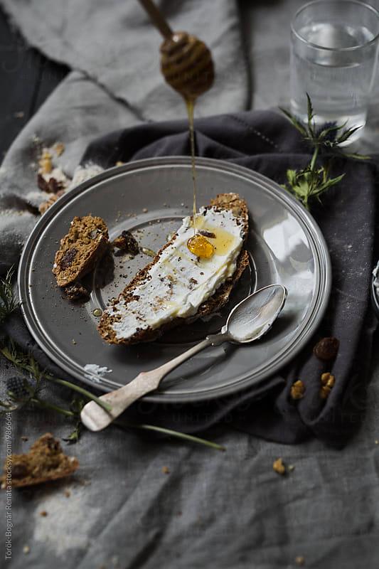 A slice of bread with creamy cheese and honey by Török-Bognár Renáta for Stocksy United
