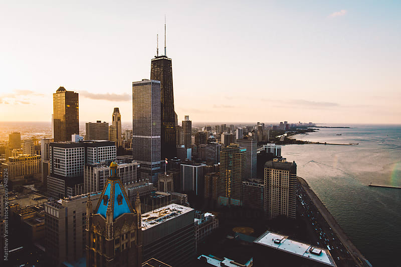 Chicago Skyline at Sunset by Matthew Yarnell for Stocksy United