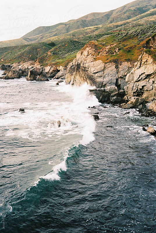 rocky coast line of big sur area west coast california by Jesse Morrow for Stocksy United