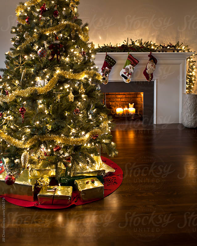 Christmas Tree and Fireplace by Jill Chen for Stocksy United