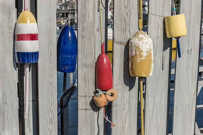 Lobster Buoys hanging on a fence by Adam Nixon for Stocksy United