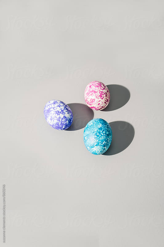 Three Hand-Painted Abstract Speckled Easter Eggs by suzanne clements for Stocksy United