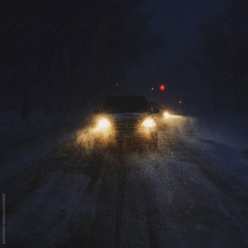 Heavy Snowfall in the Streets at Night by David Keller for Stocksy United