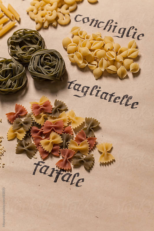 Various pasta on a paper background.  by Mosuno for Stocksy United