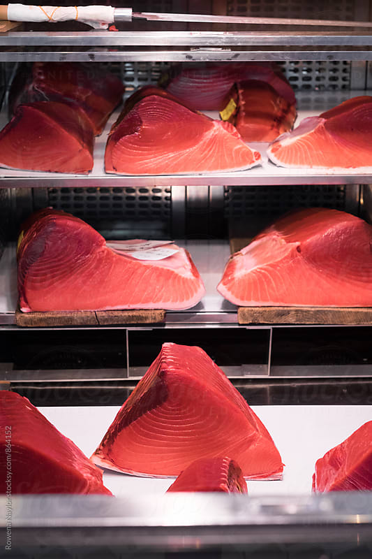 Fresh Bluefin steaks at Tsukiji Market, Tokyo Fish Market by Rowena Naylor for Stocksy United