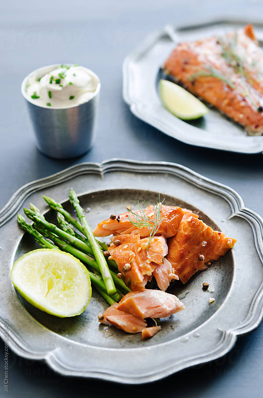 Healthy grilled salmon fillets gourmet meal  by Jill Chen for Stocksy United