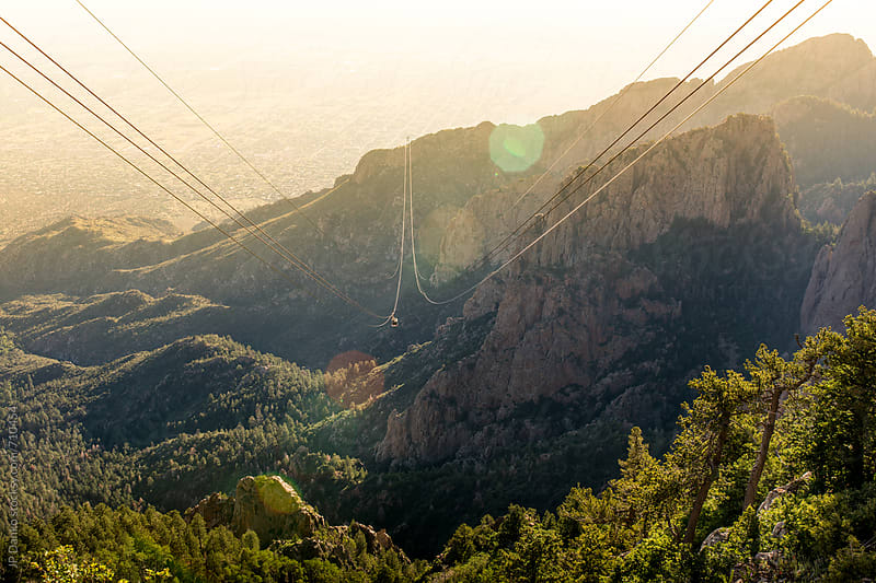 Sandia Peak Tram Albuquerque New Mexico Mountains at Sunset Alpenglow by JP Danko for Stocksy United