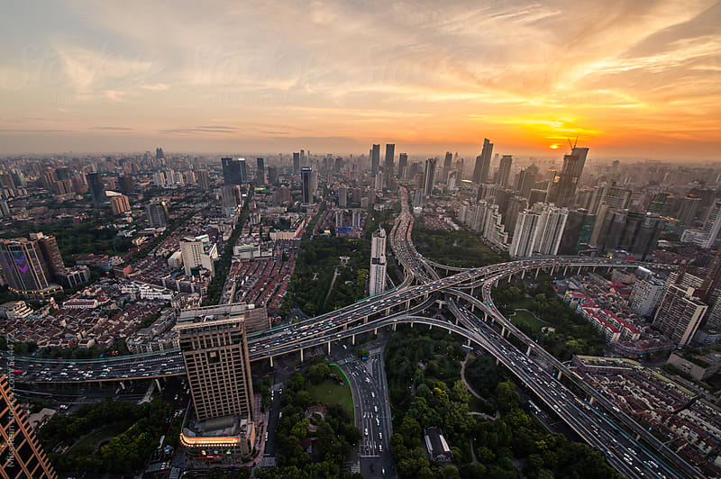 Shanghai's largest two viaduct intersection by Miss Rein for Stocksy United